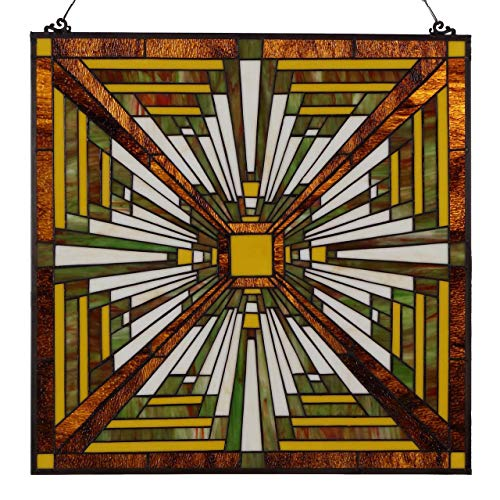 Bieye W10023 Mission Tiffany Style Stained Glass Window Panel with Chain, 24-inch Wide Square Shape, Brown