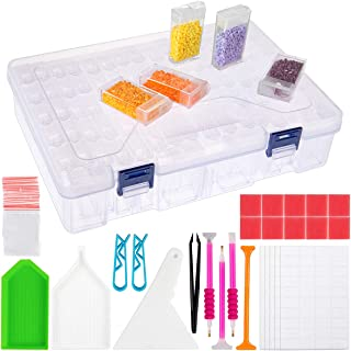 SGHUO 84 Slots Diamond Painting Storage Containers, 58pcs 5D Diamond Painting Tools Accessories Kits, Diamond Embroidery Box
