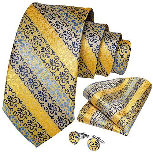 WOXHY Cravate Homme Ensemble de Cravate de Bouton de Manchette de Mariage à Rayures Bleues et Jaunes en Soie