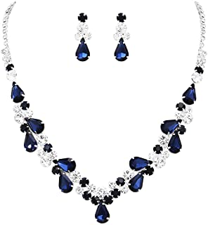 """Rosemarie Collections Women's Rhinestone Teardrop Statement Necklace Hypoallergenic Drop Earrings Set, 15""""-21"""" with 6"""" Ext..."""