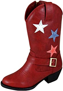 Smoky Mountain Children's Star Bright Stitched Design Western Toe Cowboy Heels Red Riding Boots 9.5M