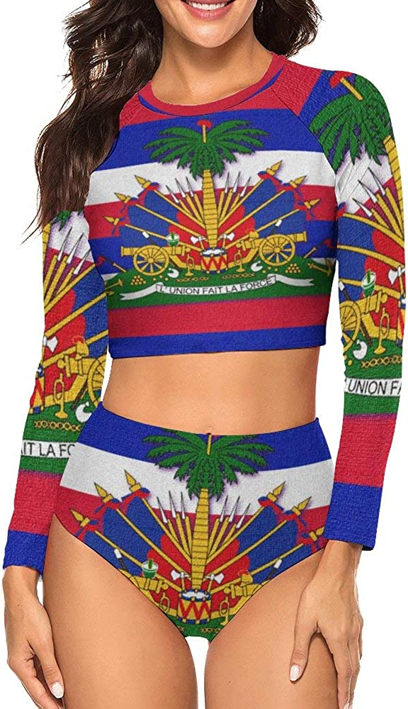CHILL·TEK Swimsuits Haiti Flag Women's Rashguard Long Sleeve UV Rays Protect Wetsuit Two Piece Tankini Sets