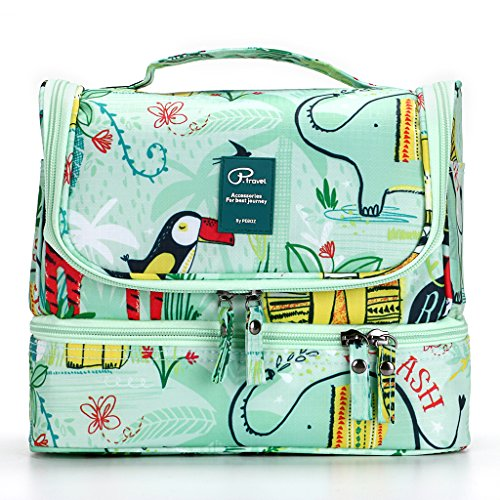IGNPION Double Layer Make up Cosmetic Bag Unisex Travel Toiletry Wash Bag Waterproof Bathroom Organiser with Hanging Hook - Separate Space Design for Wet and Dry (Animal Pattern)