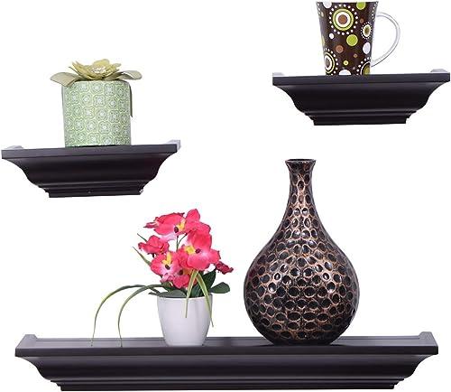 wholesale Giantex online Set of 3 Floating Shelves for Wall, Industrial wholesale Wall Mounted Shelf for Bedroom, Kitchen, Living Room, Decorative Shelf Display Rack outlet sale