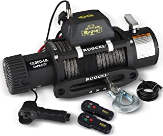 RUGCEL Winch Waterproof Synthetic Rope Winch - 12000 lb. Load Capacity