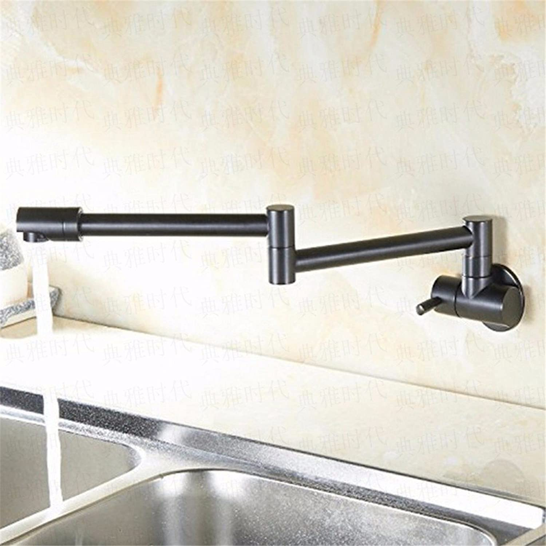 Bijjaladeva Wasserhahn Bad Wasserfall Mischbatterie WaschbeckenKüche Wasserhahn in die Wand mit Einem drehbaren Falten Teleskop Einzelnen Kaltes Wasser Gerichte zu Waschbecken Kup