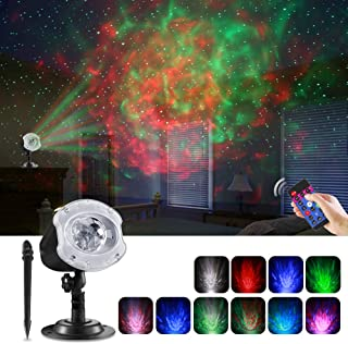 ECOWHO LED Laser Christmas Projector Light, 2 in 1 Ocean Wave Christmas Projector Night Light with Remote RGBW 10 Colors Waterproof Landscape Lights for Bedroom Party Home