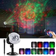 ECOWHO LED Laser Projector Light, 2 in 1 Ocean Wave LED Christmas Projector Night Light with Remote RGBW 10 Colors Waterproof Landscape Lights for Bedroom Party Halloween Home