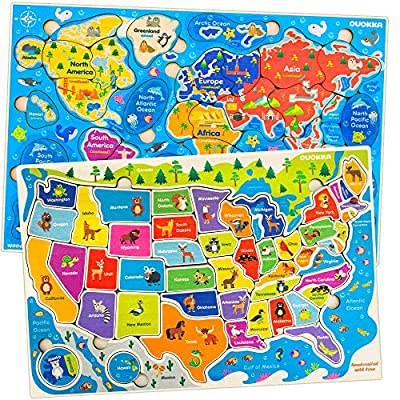 Jigsaw Puzzles for Kids Ages 4-8 by Quokka – Toddler Educational Toys for 3-5-7 Years Old Boys and Girls – Wooden Preschool Game for Learning World Map and USA States and Capitals – Gift for Children by Adducate Ukraine LLC
