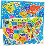 Jigsaw Puzzles for Kids Ages 4-8 by Quokka – Toddler Educational Toys for 3-5-7 Years Old Boys and Girls – Wooden Preschool Game for Learning World Map and USA States and Capitals – Gift for Children