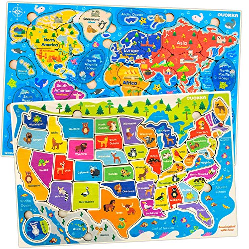 Wooden Puzzles for Kids Ages 4-8 by Quokka – 2 Toddler Educational Toys for 3-5-7 for Learning World and USA Map – Gift Toys for 4 5 Year Old Boys and Girls - Preschool Learning Jigsaws Game 6-8-10