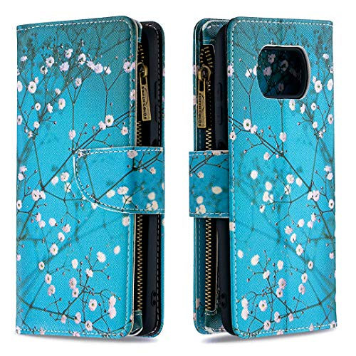 ShinyCase for Xiaomi Poco X3 NFC,Premium PU Leather Flip Folio Cover TPU Shockproof Cover with [Kickstand] [Card Slots] [Magnetic Closure] Notebook Cover Plum Flower Bookstyle Xiaomi Poco X3 NFC