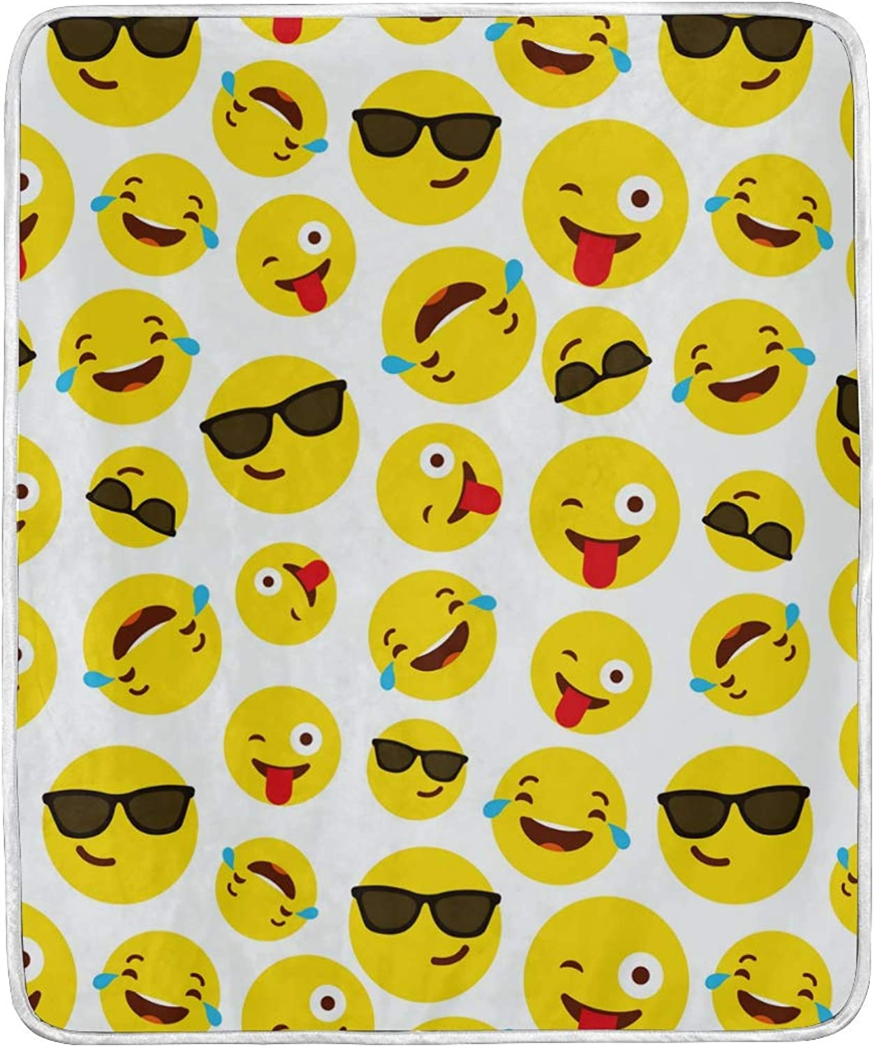 HELVOON Funny Cartoon Emoji Emoticon Smiling Throw Blanket Soft Warm Lightweight Blankets for Bed Couch Sofa Travelling Camping 60 x 50 Inch