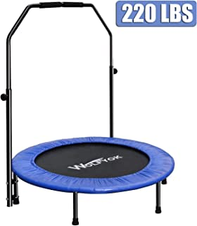 Wolfyok Exercise Trampoline with Safety Pad Adjustable Handle Bar Portable & Foldable Rebounder for Adults Kids Body Fitness Training Workouts