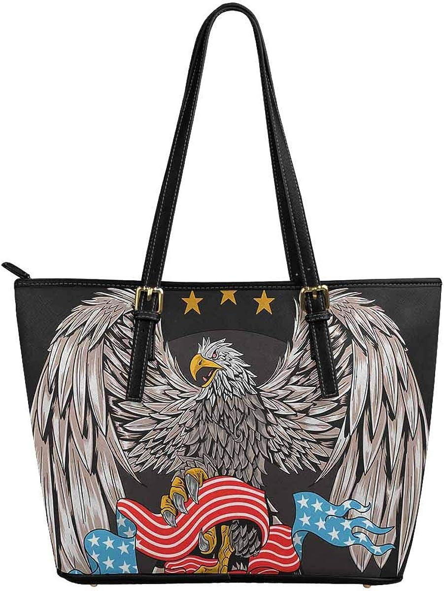 INTERESTPRINT USA Eagle Women Totes Top Handle HandBags PU Leather Purse