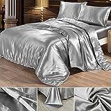 Seide Bettwäsche Set Bettbezug Seide Kissenbezug Spannbetttuch Satin Modern Leicht Weich Betten Set bequem (220x240cm, Silber)