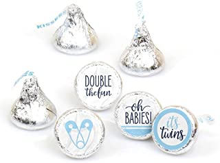 It's Twin Boys - Blue Twins Baby Shower Round Candy Sticker Favors - Labels Fit Hershey's Kisses (1 Sheet of 108)