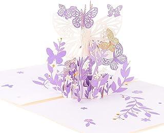 Fingertoys 3D Pop Up Carte De Voeux, Papillon Fleur Bouquet Carte De Voeux Anniversaire Anniversaire De Noël De Mariage Sa...