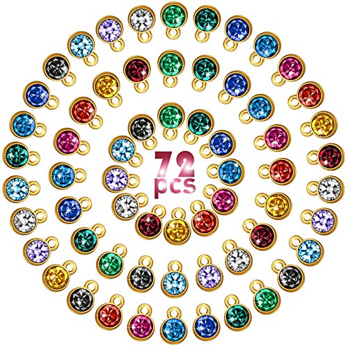 72 Pieces Crystal Birthstone Charms DIY Beads Pendant with Rings Handmade Round Crystal Charm for Jewelry Necklace Bracelet Earring Making Supplies, 7 mm, 12 Colors (Golden Base)