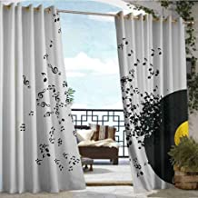 Andrea Sam Fashions Drape Music Decor,Abstract Music Illustration Flying Music Notes Disc Album Dancing Nightclub,Ivory Black and Yellow,W72 xL96 for Patio Light Block Heat Out Water Proof Drape
