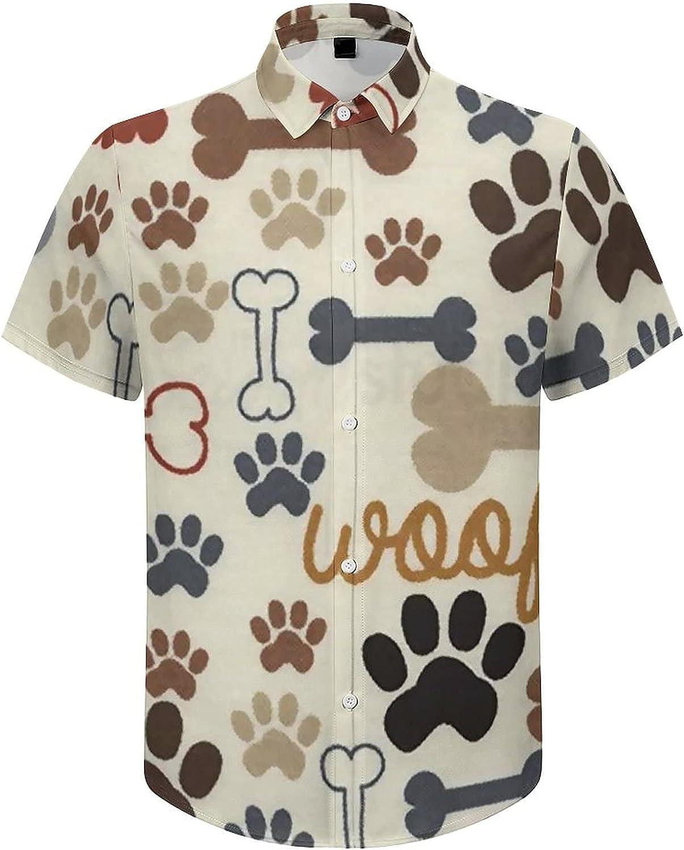 Mens Button Down Shirt Dog Paw Bone Casual Summer Beach Shirts Tops