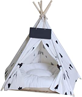 Penck Pet Teepee Dog Cat Bed - Portable Pet Tents Houses for Dog(Puppy) or Cat with Cushion 24 Inch Tall