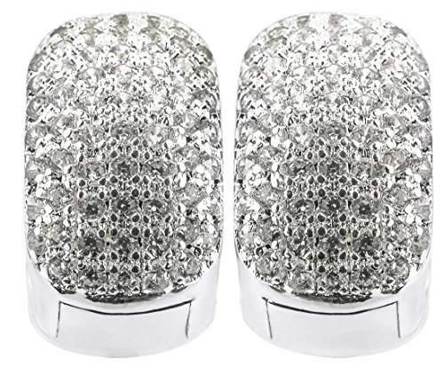 Vonchic White Gold Filled Iced Out Silver Huggie Hoop Stud Earrings Bling