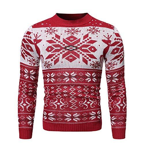 Nuovo Uomo Di Natale Cervo Colpito Colore Girocollo Pullover Maglia Uomo Sciolto Europeo Stile Maglione Rosso S