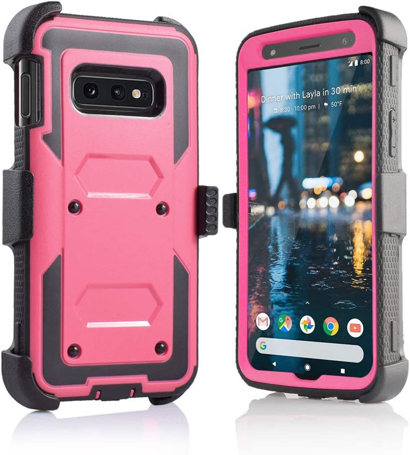 for Samsung Galaxy S10E/lte Heavy Duty Belt Clip Holster Ultra Protective Tough Grip Cover with Holder and Built in Screen Protector (Pink)