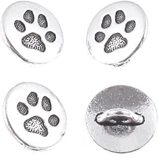 TierraCast Pewter Buttons-Fine Silver Plated Small PAW Print 12mm (4 Pcs)