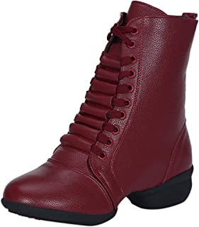 Kauneus Womens Comfy Soft Dance Shoes Leather Mid Calf Boots Lace Up Side Zipper Anti-Slip Short Boot Fashion Boots