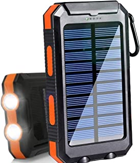 $20 » Solar Charger 20000mAh Portable Outdoor Waterproof Mobile Power Bank, Backpack Camping External Backup Battery Pack Dual USB with 2 LED Flashlight Compass for iPhone Android
