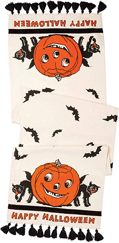 Primitives Happy Halloween Jack O Lantern Black Cat 56 Table Runner With Black Tassles