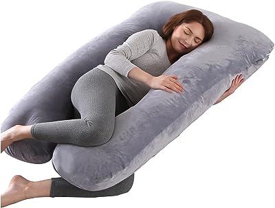 arttranson 抱き枕 U型 だきまくら 妊婦枕 妊娠 快眠グッズ 枕 大きい カバー洗える 横向き寝 仰向け うつ伏せ寝 補充綿300g付き 低反発 155×80㎝(ライトグレー)