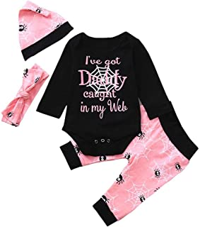 f3c2cf6d1f7 Baby Halloween Clothes Set on Clearance for 0-24 Months 4Pcs Romper Jumpsuit  T-