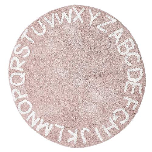 "Round Kids Playroom ABC Rug Soft Alphabet Nursery Rug for Bedroom - Playtime Collection, Learning & Game Carpet for Classroom, Best Shower Gift for Infant Toddlers (47"", Pink White)"