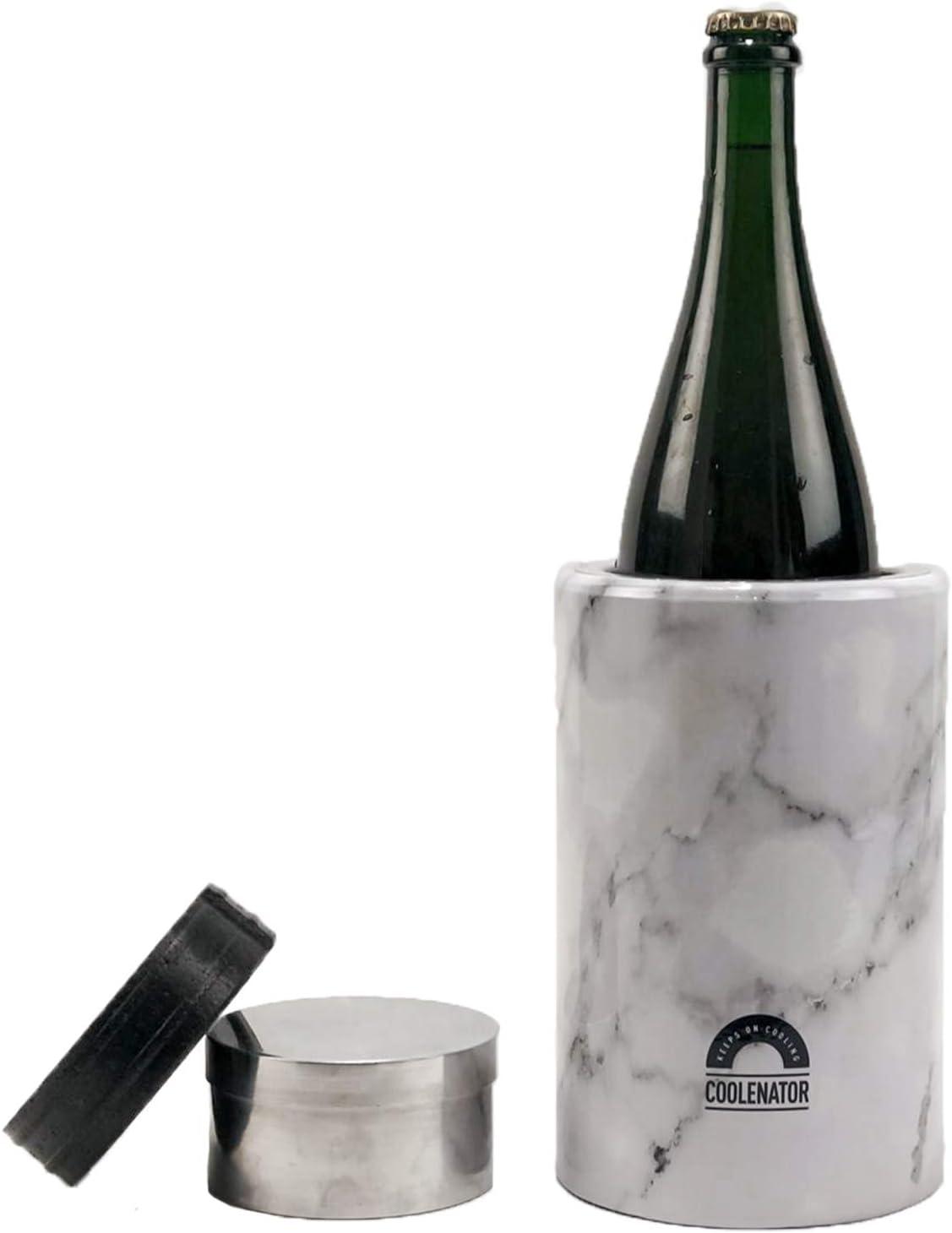 Coolenator Pro con elemento congelador extraíble – Enfriador activo de botellas – hasta 6 horas – Apto para todo tipo de botellas y jarras – Ligero y duradero – Viene en 3 colores – mármol blanco