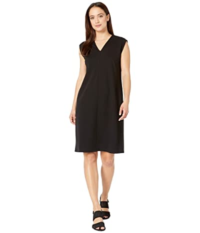 Eileen Fisher Petite V-Neck Knee Length Dress (Black) Women
