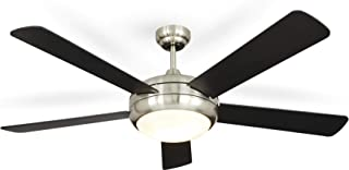 NOMA Ceiling Fan with Light | Dimmable Ceiling Fan with Remote | Black Finish, Nickel, 52-Inch