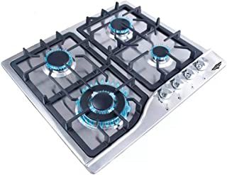 Just Home Gutstark Parrilla de Gas (Natural o LP) Empotrable 4 Quemadores Acero Inoxidable Estufa para Cocina Encendido El...