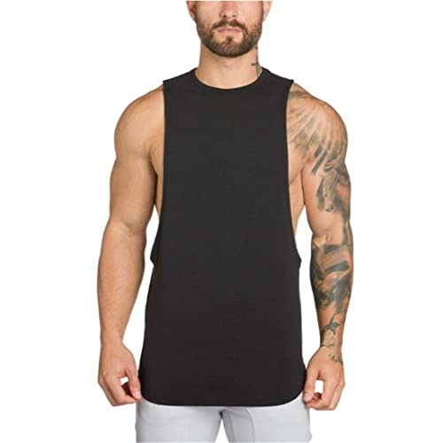 d1b0ae8d0a YeeHoo Men's Fitted Muscle Stringer Vest Cut Open Sides Workout Tank Tops  Gym Bodybuilding T-