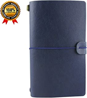 Travel Journal,leather Diary Notebook,Refillable Vintage Journals to Write in for Men and Women,Classic Retro Style,Perfect for Travelers,Fountain Pen Users,8 x4.7inches,3 Refills,Blue
