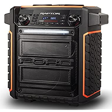 ION Audio Raptor - Ultra-Portable 100-watt Wireless Water-Resistant Speaker with 75-hour Rechargeable Battery, Bluetooth Streaming, AM/FM Radio and Multi-Color Light Bar