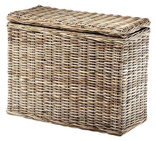 Kobolo Wäschesortierer Wäschesammler - 3 Fächer - Rattan Kubu grau