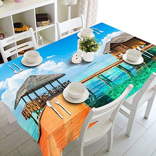 XXDD Mantel 3D Junto al mar, patrón de Paisaje de Playa, Mantel Rectangular a Prueba de Polvo, Año Nuevo A3 140x140cm
