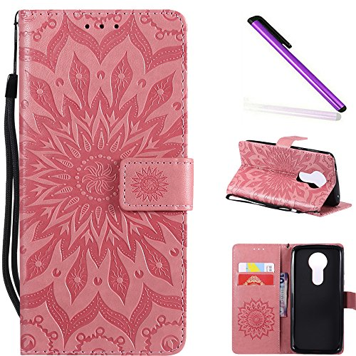 COTDINFOR Motorola Moto E5 Plus Custodia Premium PU Leather Mandala Fiore Elegante Wallet Custodia a Rilievo Custodia Folio Flip Case con Kickstand Card per Moto E5 Plus Pink Sunflower KT.