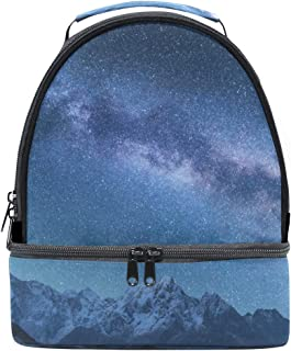 Mydaily Kids Lunch Box Milky Way and Mountains Reusable Insulated School Lunch Tote Bag