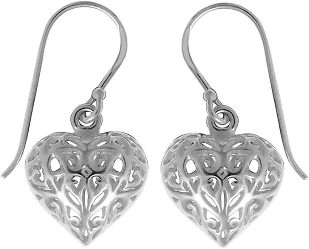 Boma Jewelry Sterling Silver Free Shipping Cheap Bargain Gift Filigree Ultra-Cheap Deals Puffy Earrings Heart