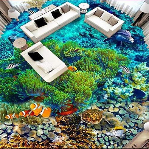 Adhesivo para azulejos Calcomanía personalizada para pisos 3D Mundo submarino Peces tropicales Azulejos para pisos en 3D Sala de estar Cuarto de baño Papel tapiz decorativo 3D-350 * 245Cm Para habit