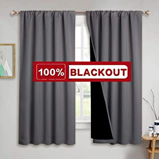 PONY DANCE Thick Blackout Curtains - (W 52 - L 63 in, Grey) Double Layer Curtain Drapes with Black Liner Thermal Window Draperies Total Shading for Night-Shift Better Rest, 2 Panels
